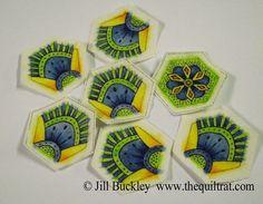 The Quilt Rat: Doodled-Painted Hexagons - Tutorial part 2