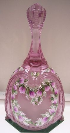 Fenton Bell Madras Pink Medallion Peony Bud Heart Wreath OOAK Free USA SHIP | eBay