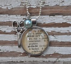 Vintage Dictionary Word Necklace Pendant ARTIST. $24.00, via Etsy.