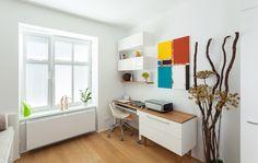 Malý byt 1+1 – HANÁK Olomouc Study Design, Office Desk, Corner Desk, Furniture, Home Decor, Ideas, Corner Table, Desk Office, Decoration Home