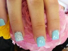 Tiffany blue acrylic nails with diamond dust accent. Nail Art Designs Videos, Simple Nail Art Designs, Cute Nail Designs, Easy Nail Art, Blue Acrylic Nails, Blue Nails, My Nails, Acryl Nails, Diamond Nails