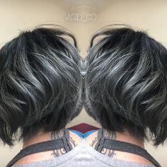 https://www.facebook.com/JaidCoHairStudio/ iG:Jaid_Co Black and Titanium Gray Hair Pravana vivids Silver and Joico intensity