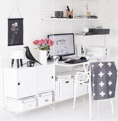 Office Workspace, Office Decor, Home Office, String Regal, String Shelf, Room Interior, Interior Design, Desk Shelves, Ikea Hacks