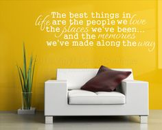 "The best things in life Vinyl Wall Quote, by VinylDecorBoutique, $10.00 <3 Sizes available are:  24"" Wide x 8"" tall. 30"" Wide x 10"" tall. 36"" Wide x 12"" tall. 42"" Wide x 13.5"" tall.  Materials: Premium Orafol (used to be Oracal) 631 Matte Vinyl."