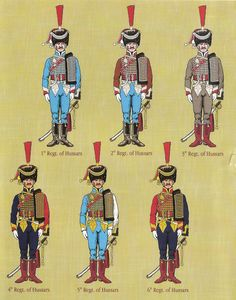 Hussar regiments:  Officers in busbies.