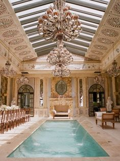 Luxurious indoor pool; chandeliers above | Dream HOMES, visit http://www.pinterest.com/davidos193/