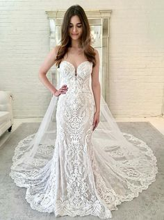 Elegant Prom Dress, Mermaid Sweetheart Court Train Sleeveless Lace Wedding Dress, Stay on trend with this beautiful prom dresses at Prom Dress Shop. Western Wedding Dresses, Sexy Wedding Dresses, Wedding Dress Styles, Bridal Dresses, Wedding Gowns, Wedding Venues, Wedding Shoes, Modest Wedding, Bridesmaid Dresses