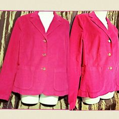 Lands' End bright pink jacket Bright pink Lands' End women's corduroy jacket. Like brand new. Not worn much at all. Lands' End Jackets & Coats