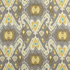 Pair of rod curtains  50'' or 25'' wide drapes nursery panels window Waverly Enlightened Ikat Pumice taupe grey cream yellow deep khaki teal