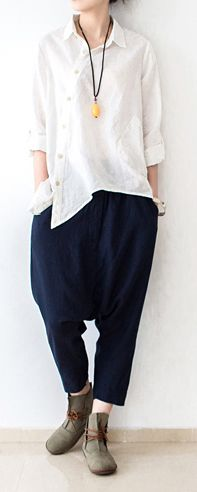 2017 navy stylish casual pants plus size linen haram pants spring