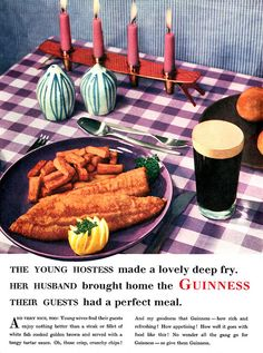 Be the perfect host and hostess : Guinness and Fish & Chips.for your house guests Vintage Advertisements, Vintage Ads, Vintage Food, Retro Food, Retro Advertising, Retro Recipes, Vintage Recipes, Bubble And Squeak, Irish Beer