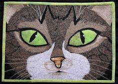 Sweetie Pie by Jo Baner. Cork Fabric, Cat Quilt, Thread Painting, Cat Crafts, Cute Photos, Cat Art, Aunt, Photo Art, Quilt Patterns