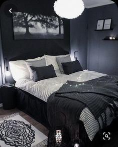 Black And Grey Bedroom, Black Bedroom Design, Black Bedroom Decor, Bedroom Setup, Grey Room, Room Ideas Bedroom, Home Decor Bedroom, Modern Bedroom, Black Bedrooms