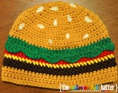 Cheeseburger Hat:  Free Crochet Pattern.  Perfect for when you have Culver's on the brain.  Might even stop one of those brain freezes from their custard.  Mmmmm custard.