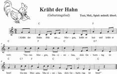 Kinderlied Noten Kräht der Hahn