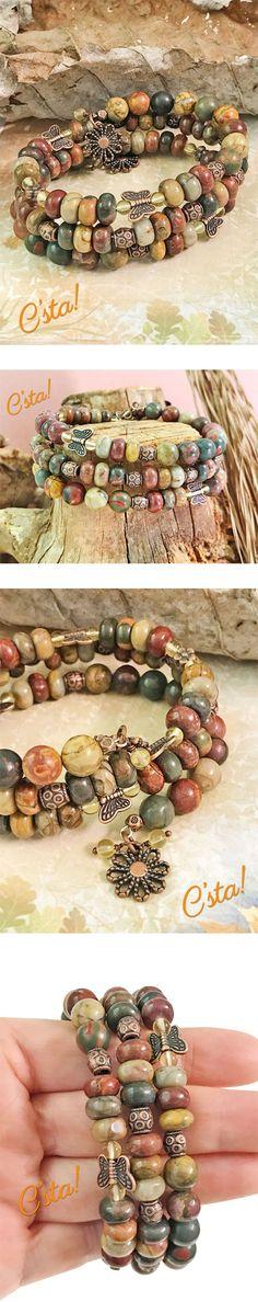 Red Creek Jasper & Citrine Memory Wire Bracelet With Free Earrings