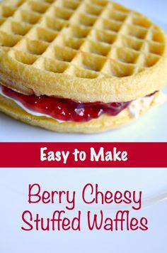 For how simple this Berry Cheesy Stuffed Waffles recipe is to make, it is amazingly delicious! It uses onlya few simpleingredients sandwiched between toasted frozen waffles. Perfect for Valentine's Day breakfast!