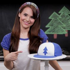 Today I made a Gravity Falls Dipper's Hat Cake on Nerdy Nummies!  Check out the full video on YouTube.com/RosannaPansino!