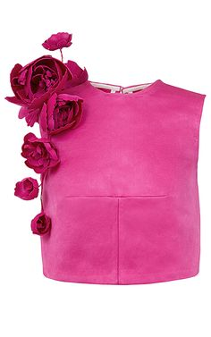 This **Esme Vie** top features a round neckline, relaxed fit, flower detail at shoulder, and a sleeveless cropped silhouette. Kleidung Design, Pink Peacock, Evening Outfits, Yellow Fashion, Fashion Fabric, Couture Dresses, Fashion Outfits, Womens Fashion, Fashion Details