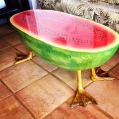 Handmade Watermelon table with duck feet
