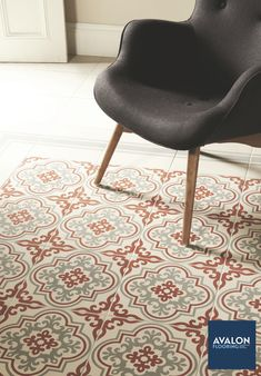 Create a rug effect in areas you wouldn't necessarily want a carpet or rug. A great way to bring in some pattern is with floor tiles.nn#patterntile #floortile #interiordesign #tiledesign