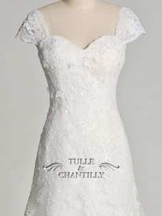 <b>Dreamland</b>- Flattering Embroidered Lace Wedding Dress with Cap Sleeves 1
