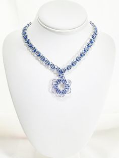 Chainmail Pendant Necklace Blue Pendant Blue by VeeVeesCreations