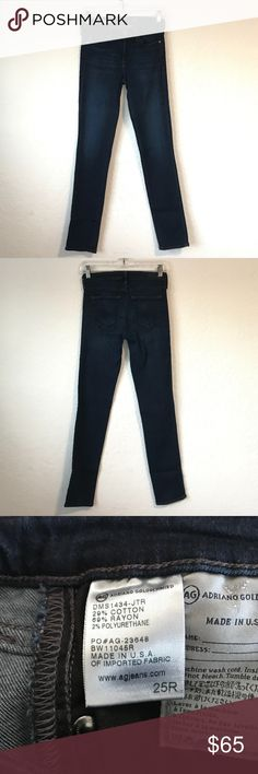 AG Adriano Goldschmied Prima Mid Rise Jeans AG Adriano Goldschmied The Prima  Mid-rise cigarette skinny jeans in Jetsetter wash.  Mid-rise cigarette. A classic cigarette cut with a medium rise exudes refined poise.  Women's size 25  Excellent Condition, almost look new! Dream Super Stretch Denim, 29% Cotton, 69% Rayon, 2% Polyester Retail for $188 First photo is stock for styling purposes, all others of actual jeans. Please ask any question prior to purchasing. AG Adriano Goldschmied Jeans…