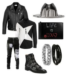 """""""Untitled #36"""" by jabriele on Polyvore featuring Yves Saint Laurent, Versace, Any Old Iron, Givenchy, Super Duper, David Yurman, Porsche Design, Gucci, men's fashion and menswear"""