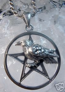 2375 Celtic Gothic Crow Silver Raven Charm Pentagram Sterling Silver 925 Jewelry