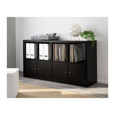 KALLAX Shelving unit - black-brown - IKEA, $64.99 -- for vinyl storage! -- can place vertically or horizontally and add doors or drawers.