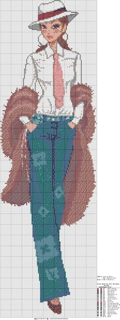 point de croix femme moderne en costume d'homme - cross-stitch modern woman in a man's suit
