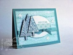 Stampin' Up! ... handmade Christmas card ... FestivalofTrees081214 ... teals and aqua ... like the triplet grouping of stamped and punched trees ... great layout design ...