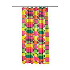 IKEA - LILLSKÄR, Duschdraperi, Tätvävt tyg av polyester med en vattenavvisande beläggning.Det insydda gummibandet i nederkant ger draperiet en tyngd som gör att det hänger rakt.