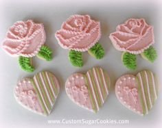 pretty textured roses and heart cookies