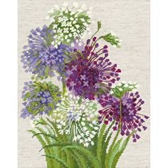 Riolis-Allium Counted Cross Stitch Kit. Express your love for arts and crafts with these beautiful cross stitch kits! Find a themed kit for any taste! This package contains one color chart, 14 count f