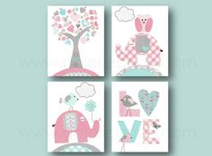 Baby Girl Nursery Decor Pink turquoise and gray by GalerieAnais