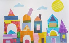 How about a city or castle scape with a small cat hidden in it? Paul Klee Art Project Use dot markers to make colored paper Shape Collage, Collage Art, Kindergarten Art, Preschool Art, Art Activities For Kids, Art For Kids, History Of Modern Art, Paul Klee Art, 2nd Grade Art