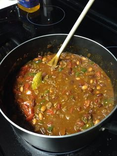 , can of kidney beans, can of pinto beans, 2 cans of stewed tomatoes ...
