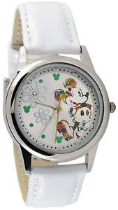 Disney Mickey Mouse Ladies MK1091 Silver Sunray Dial White Leather Strap Watch