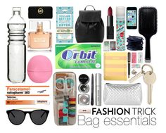 """Fashion Trick: Bag essentials"" by dandilion02-eh ❤ liked on Polyvore featuring Bobbi Brown Cosmetics, Topshop, Smoke & Mirrors, Dot & Bo, Paper Mate, GHD, scunci, Eos, Givenchy and Blue Q"