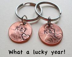 Personalized Penny Keychain Couples Keychain by JewelryEveryday