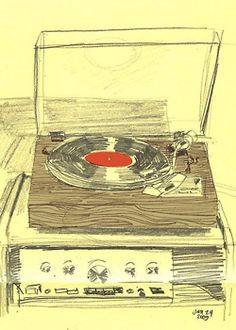 Hand Drawn Vector Drawing Of A Record Player View From