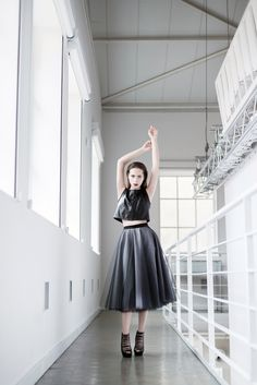 Black leather top T068. A top made of natural leather will give every outfit a touch of feminine strength and independence in both daily and more elegant stylizations.  Circle skirt S070. A skirt in the grey and black colour made of 5 layers of Italian tulle and satin lining.