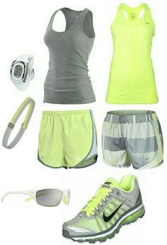 Women's fashion gray yellow nike gym outfit
