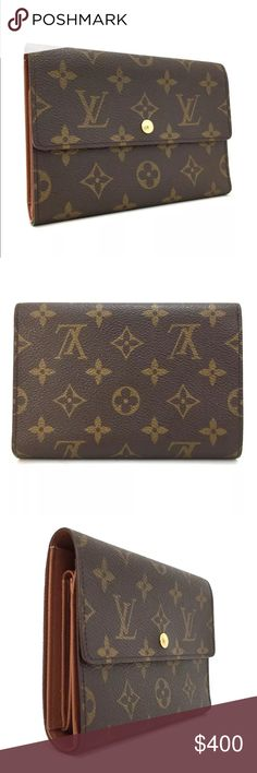 Auth Louis Vuitton Porte Tressor trifold wallet ■Color  Brown  ■Details A pre-owned .Authentic Louis Vuitton Monogram Porte Tresor Etui Papiers Trifold Wallet .The Over all is very good condition. The item is sold in AS IS condition. Please check the photos for more details.  ◆REMINDER  The inside of pocket/cash compartment are peeled.      ■Size (approx) Length  16 cm /  6.3 inches Height   11 cm /  4.3 inches Louis Vuitton Bags Wallets