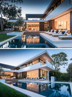 This new home in the Pacific Palisades neighbourhood of Los Angeles is designed for outdoor entertaining, with a large backyard, with swimming pool, outdoor Villa Design, Modern House Design, Large Backyard Landscaping, Landscaping Design, Patio Design, Backyard Fireplace, Outdoor Fireplaces, Luxury Homes Dream Houses, Dream House Exterior