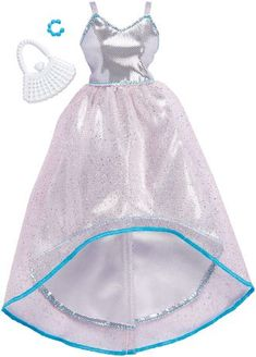 New Barbie Fashionista Complete Look Silver Opalescent Hi-Lo Gown Barbie Doll Set, Barbie Sets, Doll Clothes Barbie, Barbie Outfits, Barbie Stuff, Barbie Fashionista, Diy Barbie Furniture, Barbie Doll Accessories, Trends