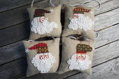 Santa Jingles Finished Cross Stitch Christmas by LittleRabbitMini