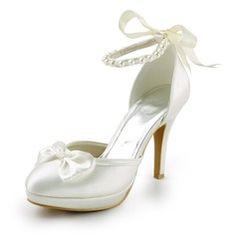 Wedding Shoes - $59.99 - Women's Satin Cone Heel Closed Toe Platform Pumps With Bowknot Imitation Pearl Ribbon Tie  http://www.dressfirst.com/Women-S-Satin-Cone-Heel-Closed-Toe-Platform-Pumps-With-Bowknot-Imitation-Pearl-Ribbon-Tie-047005609-g5609